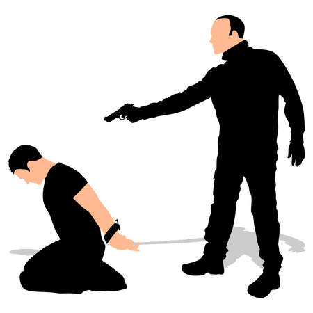 murderer: Vector silhouette of a man with a gun to a hostage