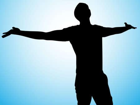silhouet van de mens met open armen, vector Vector Illustratie