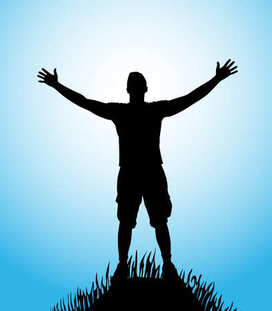 arms open: silhouette of man with open arms on hill