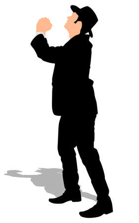 Silhouette of a man in a suit with hands clasped and looking up as if pleading for mercy or forgiveness or for praying