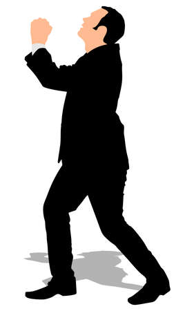 Pleading: Silhouette of a man in a suit with hands clasped and looking up as if pleading for mercy or forgiveness or for praying