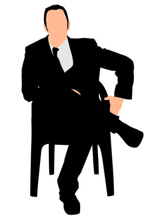 silhuette: Silhouette of a man sitting in a modern armchair with one leg over his knee