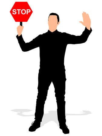 fullbody: Man holding a traffic sign stop, vector