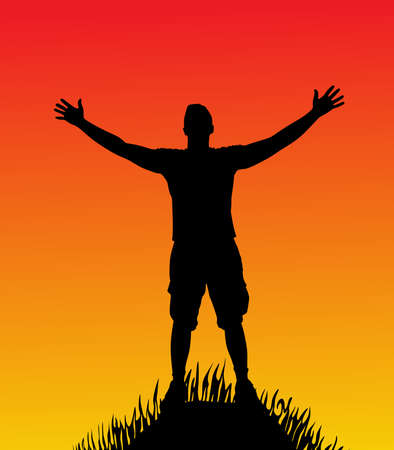 raised: silhouette of man with open arms on hill
