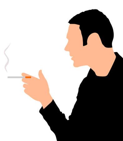 smoking cigarette: man smoking cigarette, vector Illustration
