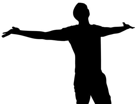 praise god: silhouette of man with open arms, vector