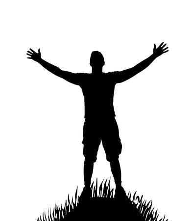 silhouet van de man met open armen op de heuvel