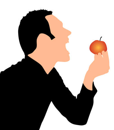 biting: Man Biting Apple, vector