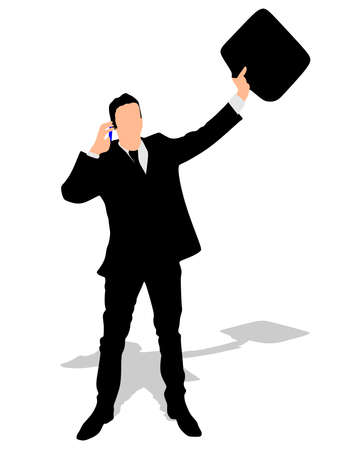 good news: successful businessman with cellphone talking, vector
