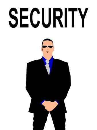 bodyguard: security bodyguard man, vector Illustration