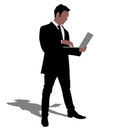 laptop vector: Successful businessman holding a laptop, vector Illustration