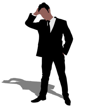 introverted: Worried businessman, vector