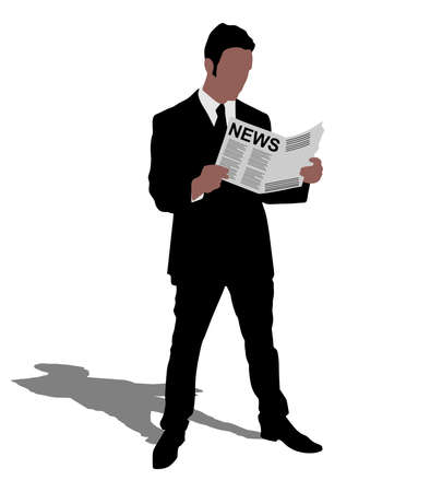 reading news: young businessman reading news paper, vector Illustration