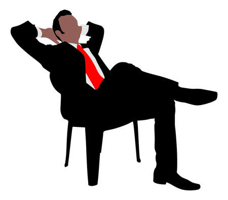stubbly: Young businessman taking a break, vector