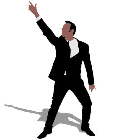 businessman shoes: Successful businessman dancing, vector Illustration