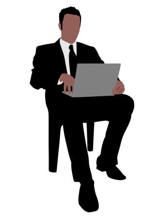 comunication: successful businessman holding a laptop, vector