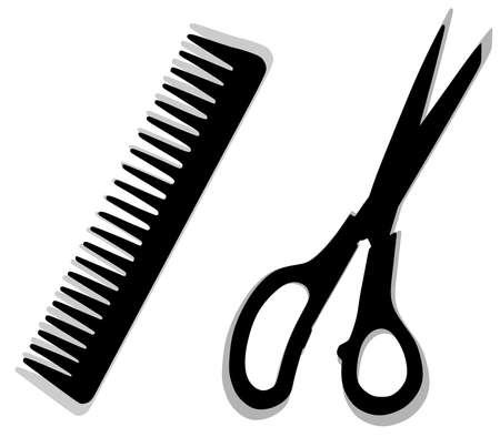barbershop: comb and scissors. barbershop. symbol of hair and beauty salon Illustration
