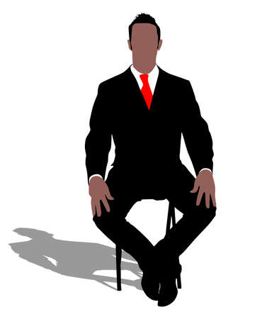 mature business man: Successful businessman sitting on chair, vector Illustration