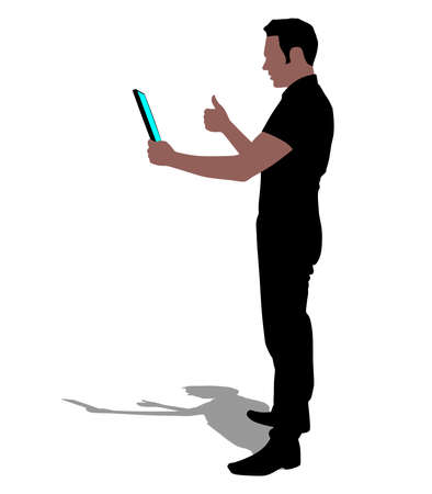 person silhouette: business man walking touchscreen digital tablet, vector