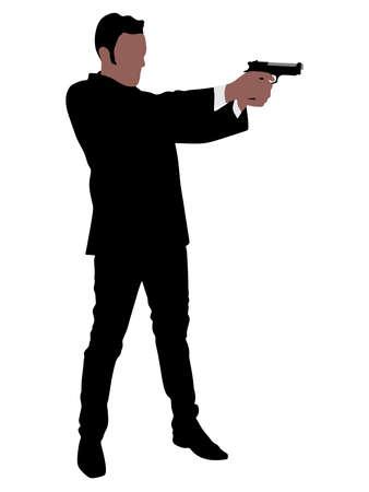 gun man: Man with gun, vector