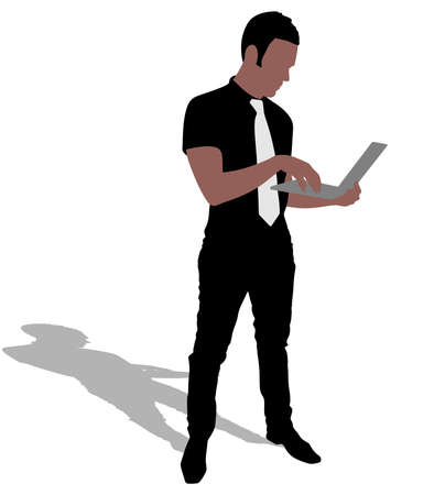 mature business man: Successful businessman holding a laptop, vector Illustration