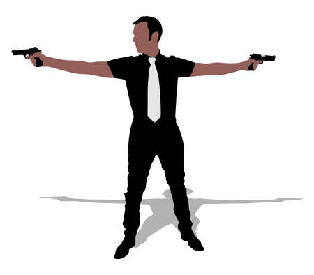 two: Man with two guns, vector