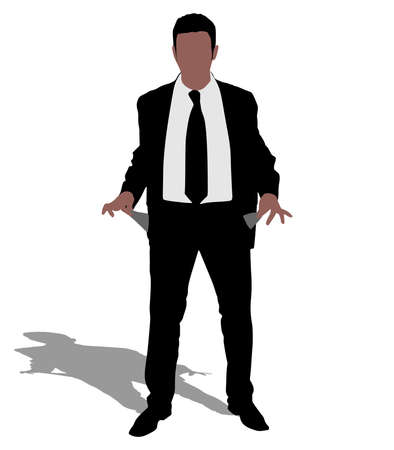 empty pocket: businessman showing his empty pocket, vector Illustration
