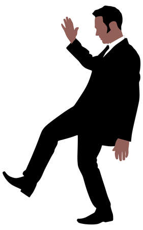 slips: successful businessman slips and falls, vector