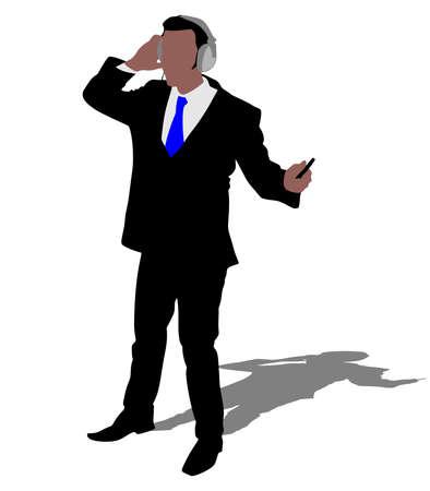 tuned: Business man listening music, vector Illustration