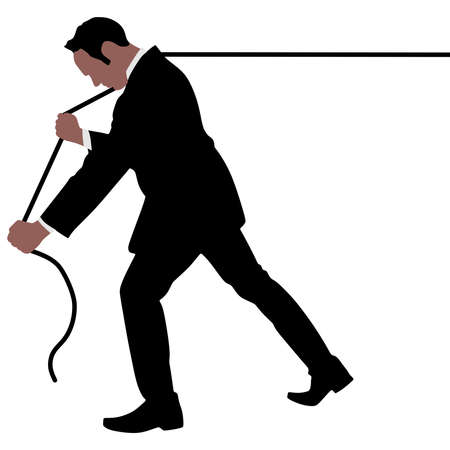 pulling rope: business man pulling a rope, vector