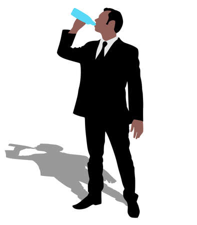 man drinking water: Businessman drinking water, vector