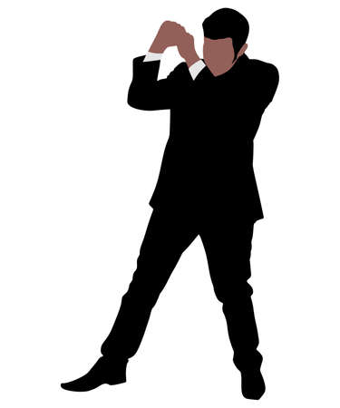 stance: Businessman in boxing stance, vector