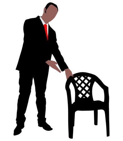 businessman shoes: successful businessman offers a chair, vector