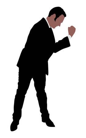 expressing: business man expressing winning, winner, energy, success, vector