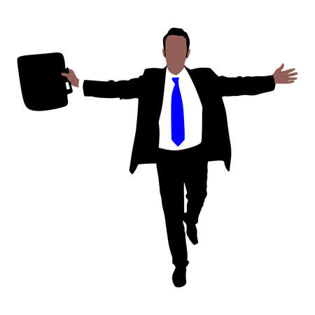 expressing: business man with briefcase expressing winning winner energy success, vector Illustration