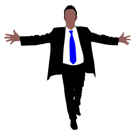 overjoyed: business man with briefcase expressing winning winner energy success, vector Illustration