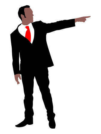 angry businessman: Angry businessman showing to exit , vector
