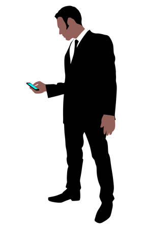 business phone: successful business man use cell phone, vector