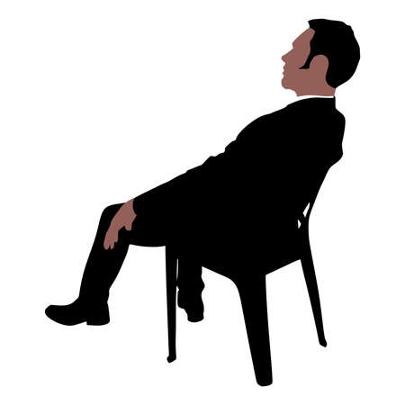 introverted: Worried businessman sitting on chair, vector Illustration