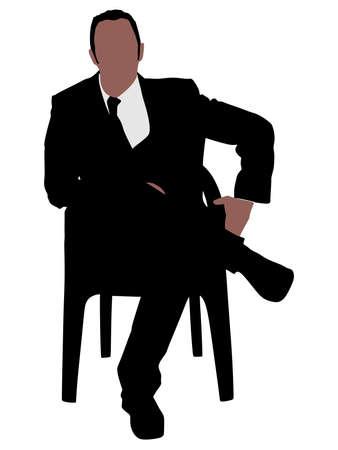 Silhouette di un uomo seduto su una poltrona moderna con una gamba sul ginocchio