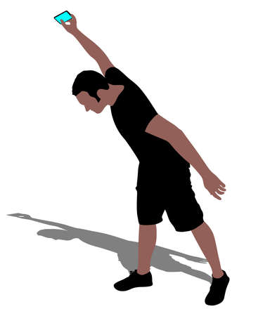Angry man throwing his mobile phone, vector Illustration