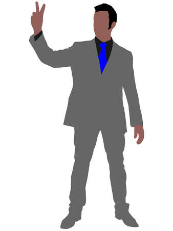 overjoyed: business man showing victory sign, vector