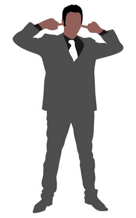 ignorance: business man covering ears, vector