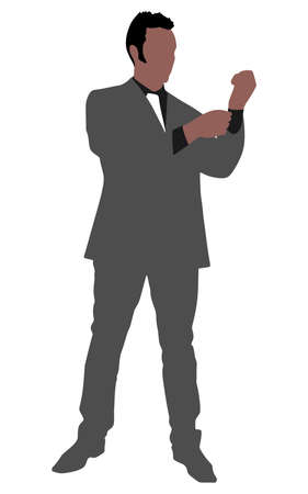 undressing: business man buttoning his sleeve and getting ready to work, vector