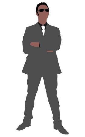 sun glasses: successful businessman wearing sun glasses, vector Illustration