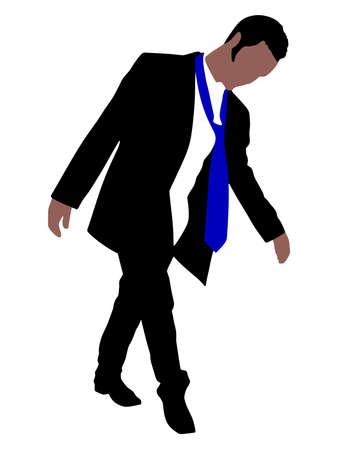the hangover: Drunk Businessman, vector Illustration