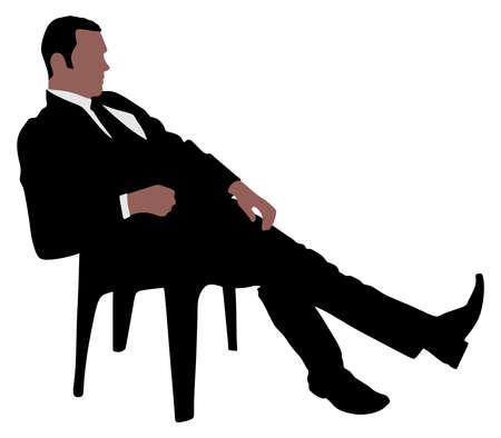 taking a break: Young businessman taking a break, vector