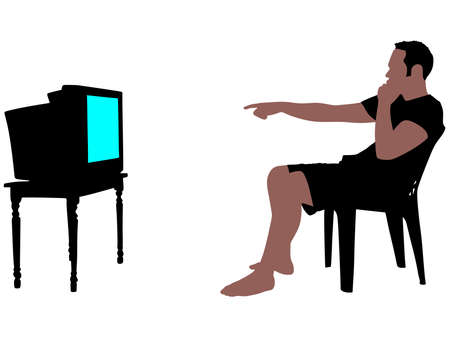 watching television: Man watching television, vector