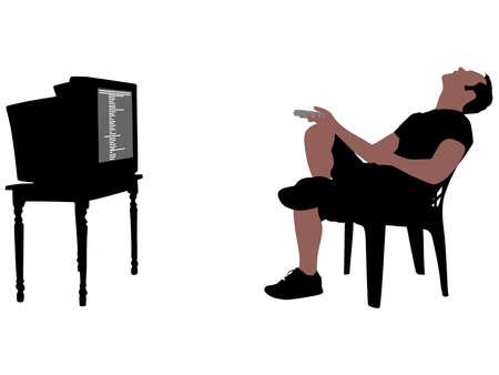 fell: Man fell asleep watching TV, vector Illustration