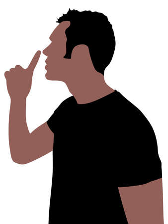 hush hush: Young man showing hush sign, sideview, vector